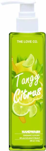 The Love Co. Tangy Citrus Anti Bacterial Natural Hand Wash with Tulsi, Neem Extracts - 200ml Hand Wash Pump Dispenser