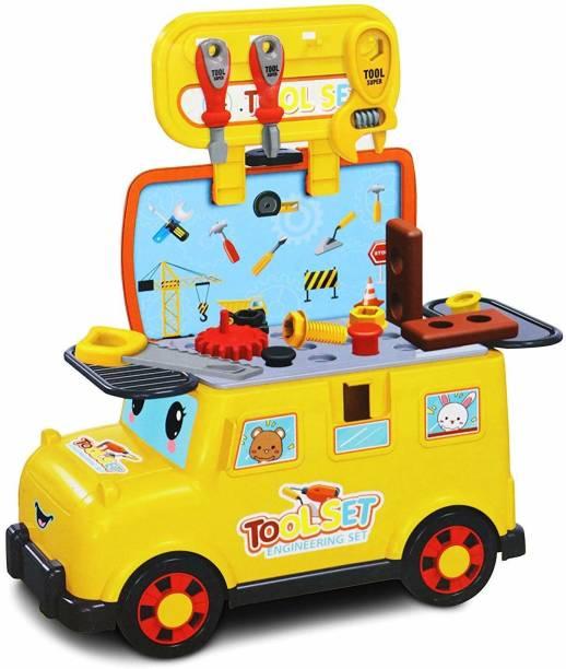 Smartcraft Tool Car, 19 Pcs Portable Mini Bus Tool Car Tool Play Set for Kid, Pretend Play Tool Toy Set