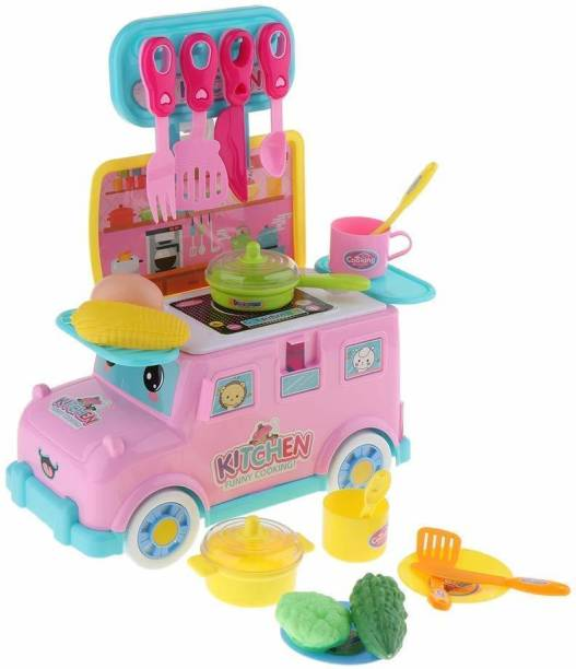 Smartcraft Mini Bus Kitchen Cart, 2 in 1 Kitchen Set in Toy Vehicle for Kids, Pretend Play Kitchen Cooking Playset, DIY Portable Mini Bus Kitchen Cart – 18 PCS