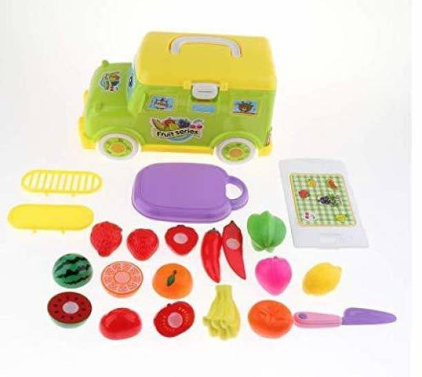 Smartcraft Mini Bus Fruit Cart, Pretend Play Kitchen Tools Toys, Fruit Bus Set for Girls and Boys