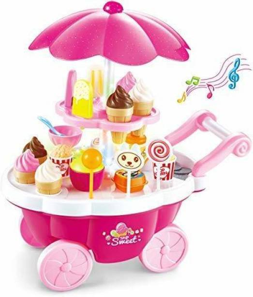 Smartcraft Ice Cream Stroller Sound and Light Candy Cart 39 Pcs, Ice Cream Play Cart Kitchen Set Toy with Lights and Music