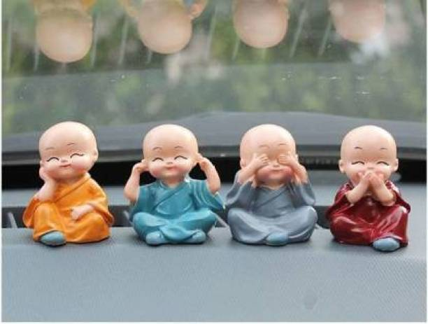 MAYASTER Handcrafted Colourfull Set of 4 Small Baby Monk Decorative Showpiece - 5.5 cm Rattle
