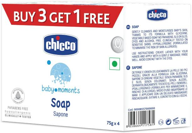 chicco Soap Baby Moments 75Gr Buy 3 Get 1 Free
