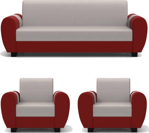 Rajgarhwala Furnitures RF 809 Leatherette 3 + 1 + 1 Red White Sofa Set