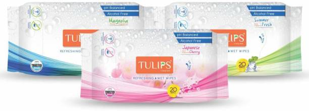 Tulips Refreshing Wet Wipes With Different Fragrances- Pack of 3 (20 Wipes Each) (Japanese Cherry/Magnolia & Summer Fresh)