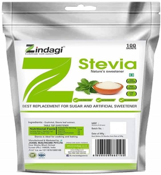 Zindagi Stevia Sachets - Pure Stevia White Powder Sachet, Sugar-Free Sweetener,100sachets Sweetener