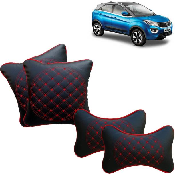 Rhtdm Black, Red Leatherite Car Pillow Cushion for Tata