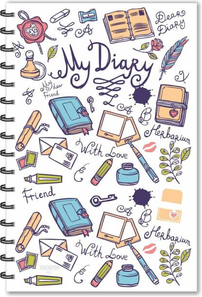 ESCAPER My Diary White Designer Diary (Ruled - A5 Size), Personal Diary, Personal Notebook A5 Diary Ruled 160 Pages