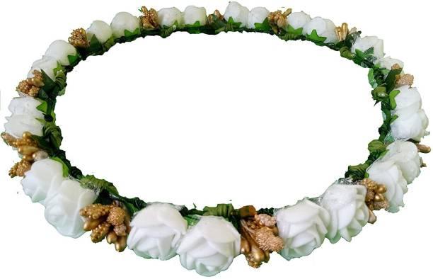 LAMANSH White Floral Hair Tiara / Designer Tiara Crown for Wedding & Haldi Ceremony / Artificial Flower Hair Accessory Tiara for Women / Bridal Tiara Hair Accessory Set