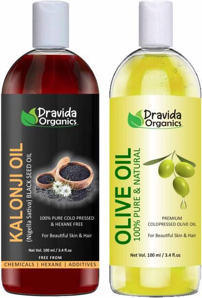 Dravida Organics 100% Pure Kalonji Oil and Olive Oil Hair Oil