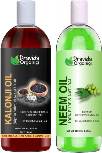 Dravida Organics 100% Pure Kalonji Oil and Neem Oil Hair Oil