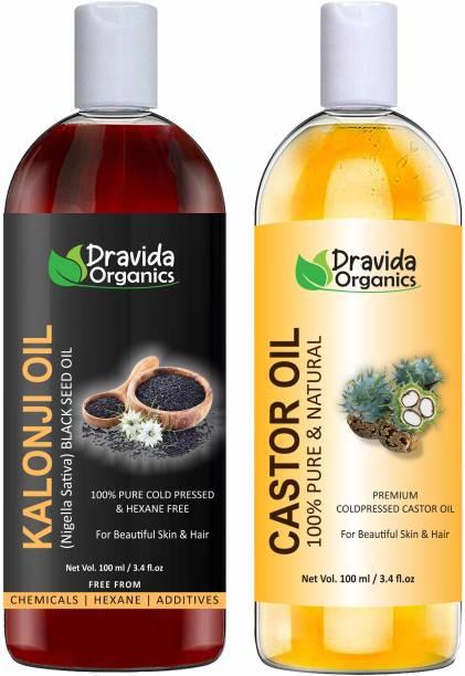 Dravida Organics 100% Pure Kalonji (Blackseed) Oil and Castor Oil Hair Oil