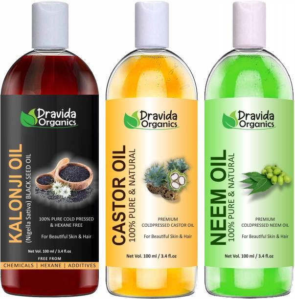 Dravida Organics 100% Pure Kalonji Oil, Castor Oil and Neem Oil Hair Oil