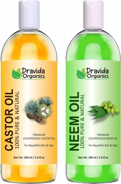 Dravida Organics 100% Pure Castor Oil and Neem Oil Hair Oil