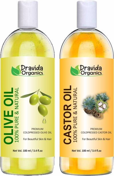 Dravida Organics 100% Pure Olive Oil and Castor Oil Hair Oil