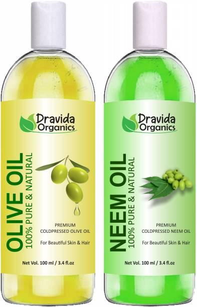 Dravida Organics 100% Pure Olive Oil and Neem Oil Hair Oil