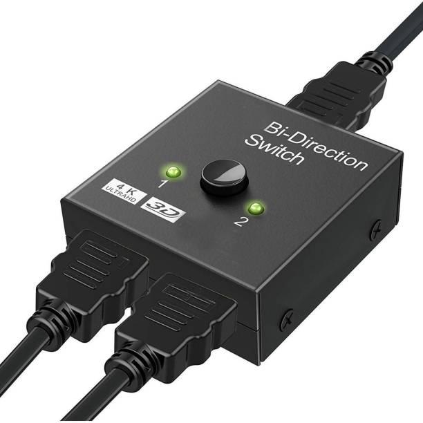 Frackson HDMI Switch Splitter, Bi-Directional Manual HDMI Switch 2 Port, 2 in 1 Out or 1 in 2 Out Splitter Support 4k 2k HD 1080P Media Streaming Device