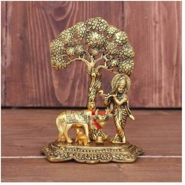 WELLWISHERS CRAFT Metal Krishna with Cow Standing Under Tree Plying Flute Decorative Showpiece Decorative Showpiece  -  17 cm