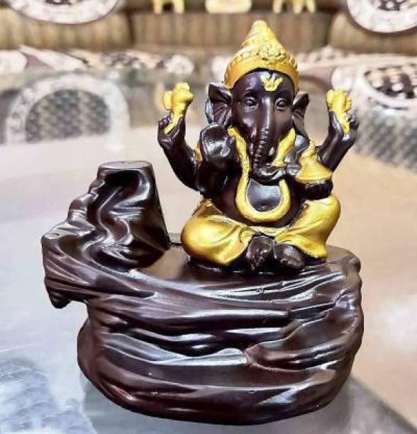 classicindian Classicindian Ganesha Backflow Incense Burners with 10 Free Incense Sticks Decorative Showpiece - 9.5 cm (Polyresin, Multicolor) Decorative Showpiece  -  8 cm