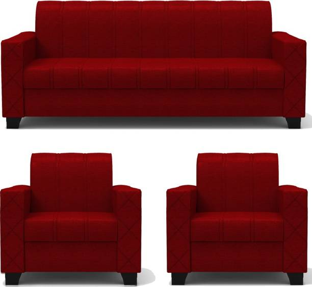 Rajgarhwala Furnitures RF 806 Fabric 3 + 1 + 1 Red Sofa Set