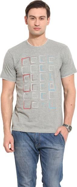 Max n Mill Printed Men Round Neck Grey T-Shirt