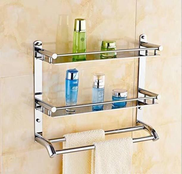 GRIVAN Premium Towel rack Abs Stainless Steel Bathroom Accessories and Folding Towel Rack/Towel Hanger/Towel Stand/Holder Silver Towel Holder