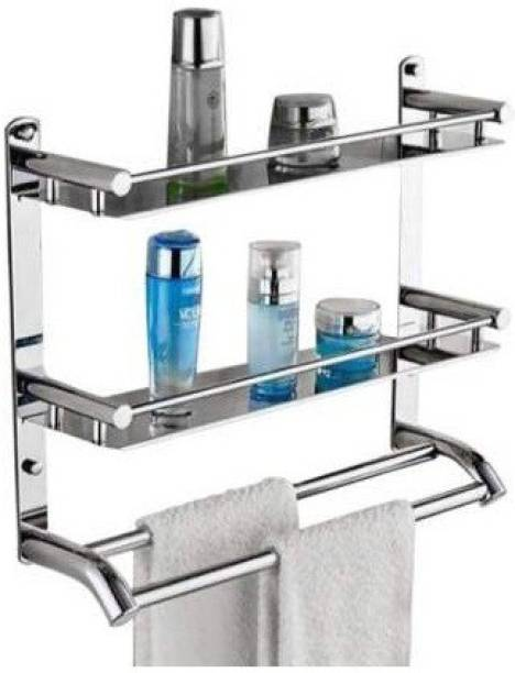 NEW WARE Stainless Steel Double Layer Shelf with Towel Road,Multipurpose Bath Shelf Organizer,Kitchen Shelf/Towel self/Bathroom Shelf and Rack/Bathroom Accessories 18 inch 2 Bar Towel Rod