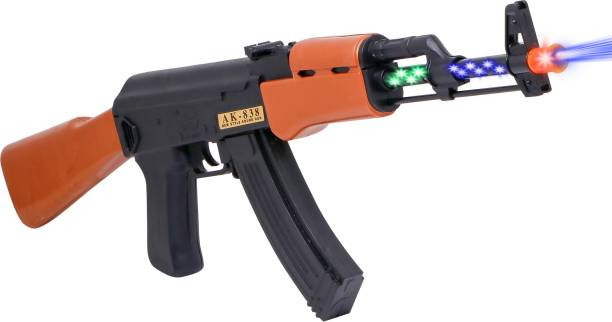 FIDDLERZ Battery Operated AK 838 Machine Toy Gun with Removable Knife and Dynamic Sound,Music | Toy Gun for Kids Guns & Darts