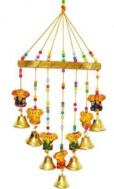 Fashion Bizz Handcrafted Ganesha Bells Windchime Decorative Hangings Wall Art For Main Door/Living Room Home Decor Wood Windchime