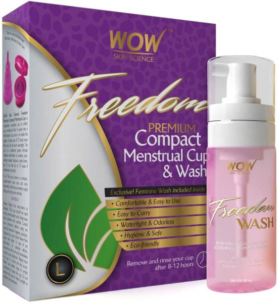 WOW SKIN SCIENCE Freedom Reusable Menstrual Cup and Wash Post Childbirth - Large (Above 30 Years) - Post Childbirth Intimate Foam