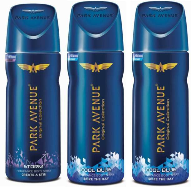 PARK AVENUE 1 Storm and 2 Cool Blue Deodorant Combo for Men (Pack of 3) Deodorant Spray  -  For Men