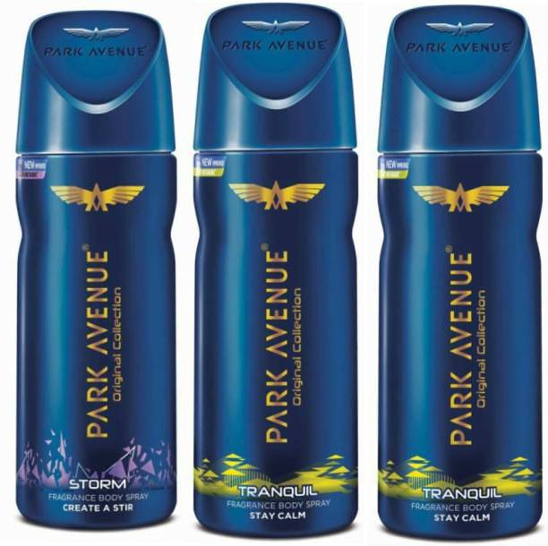 PARK AVENUE 1 Storm and 2 Tranquil Deodorant Combo for Men (Pack of 3) Deodorant Spray  -  For Men