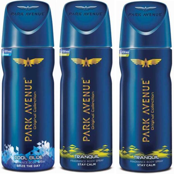 PARK AVENUE 1 Cool Blue and 2 Tranquil Deodorant Combo Pack of 3 Deodorant Spray  -  For Men
