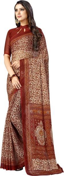 Samah Floral Print, Striped, Printed Fashion Chiffon Saree