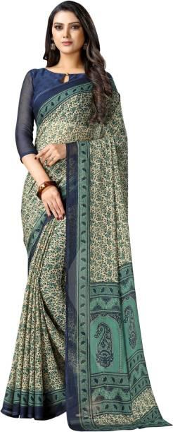 Samah Floral Print, Striped, Paisley, Printed Fashion Chiffon Saree