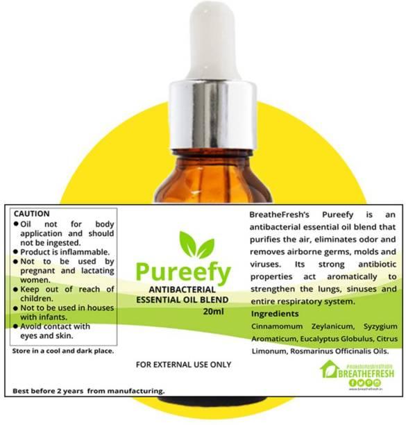 BreatheFresh Pureefy Antibacterial Essential Oil Blend of Clove Bud, Lemon, Eucalyptus, Cinnamon and Rosemary Aroma Oil