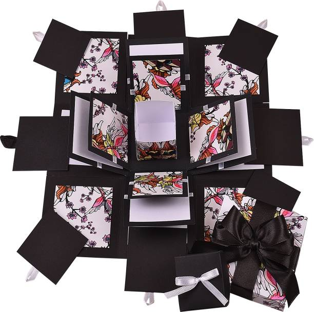 Gennies Handsel 3 Layered Black Test D.I.Y all occasion explosion box Greeting Card