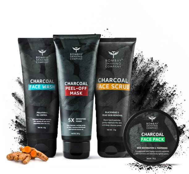 BOMBAY SHAVING COMPANY Activated Charcoal Complete Home Facial Kit | Removes Blackheads, De-tans, Unclogs Pores & Deep Cleanses | Made in India