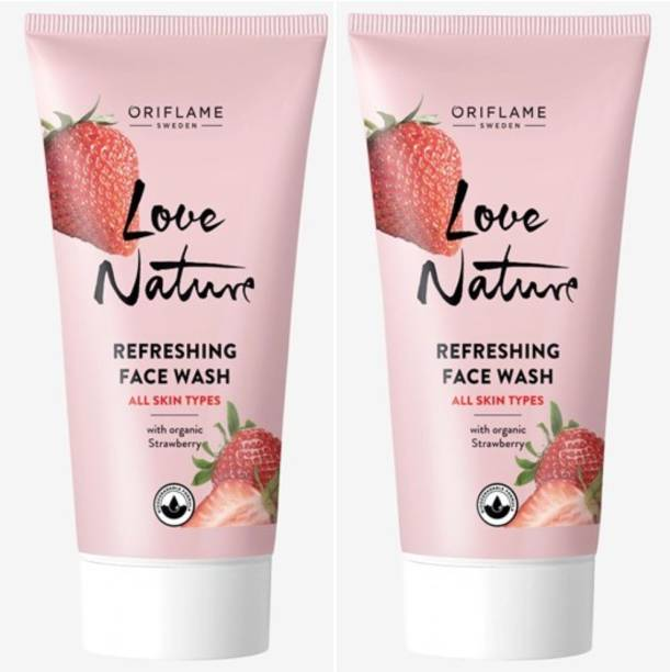 Oriflame Sweden Love Nature Refreshing  with Organic Strawberry pack of 2 Face Wash