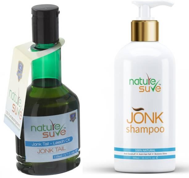 Nature Sure Combo Jonk Tail Leech Oil (110ml) & Jonk Shampoo Hair Cleanser for Men & Women Hair Oil