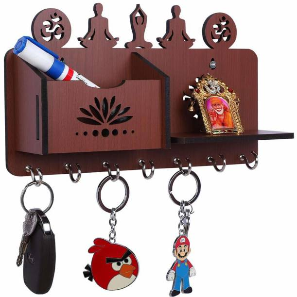 Arpita Crafts Yoga Pose Brown Home Décor Stylish Wood Key Holder
