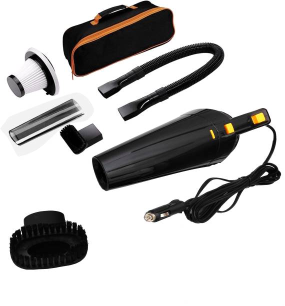 Owme Car Vacuum Cleaner With Device Portable and High Power Plastic 12V Stronger Suction For all types Wet And Dry With Carry Bag High Power Wet & Dry Portable Car Vacuum Cleaner (Black) Car Vacuum Cleaner with Reusable Dust Bag