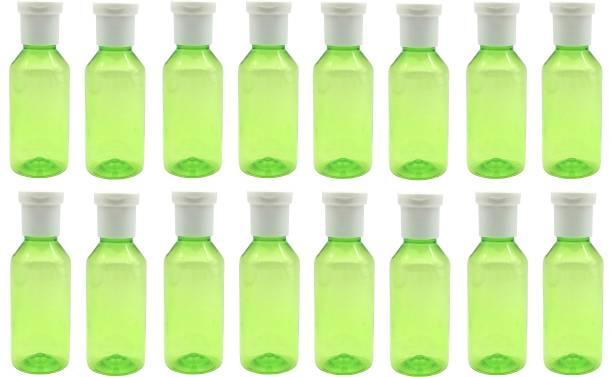 Harshpet Refillable fliptop Cap Round Green Bottle Set of 16 100 ml Bottle