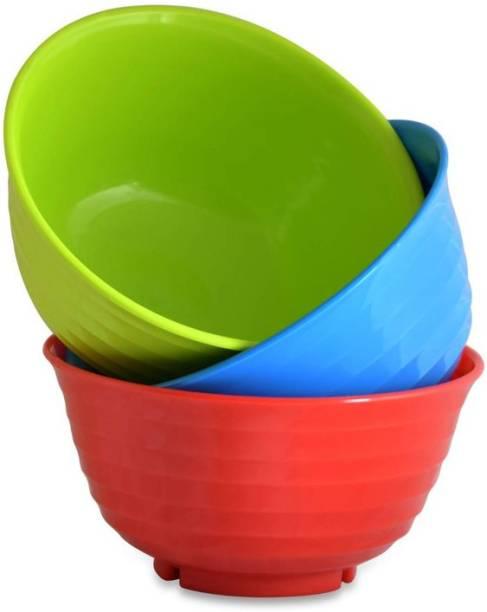 SAURA 3 Pcs Multi(Red,Blue,Green) Gourmet 1000 ml Polypropylene Serving Bowl