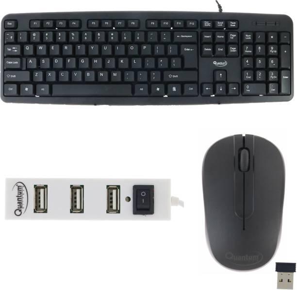 Quantum Hi-Tech QHM 7403 WIRE KEYBOARD, QHM 271 WIRELESS MOUSE AND QHM 6660 4 PORT USB HUB (COMBO) Combo Set