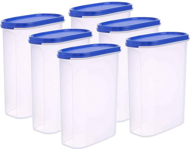 DEW MAT MAT 2500ml Polypropylene Grocery Container (Pack of 6, Blue, Clear)  - 2500 ml Plastic Grocery Container