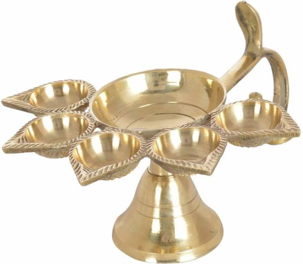 Heaven Decor Decorative Brass panchaarti Diya Stand, Royal Brass Panch Aarti Diya, Pack of 1 Brass Table Diya