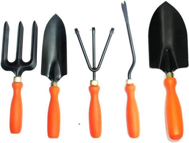 MANOGYAM Set of 5 Tool Kit - Weeder,Trowel Big,Trowel Small,Cultivator,Fork, Garden Spectacular and Economical Gardening Tools Set Garden Tool Kit