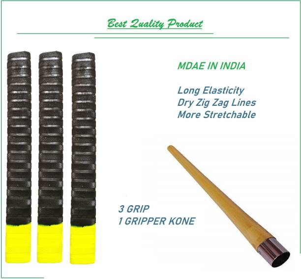 VSM Yellow Black Zig Zag Doted Handle Bat Grip 3 Grip and 1 Gripper Kone Dry Feel