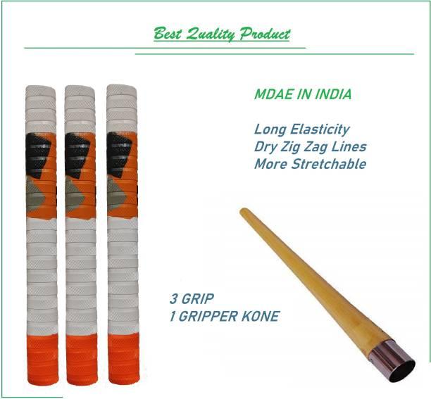VSM Orange White Army Zig Zag Doted Handle Bat Grip 3 Grip and 1 Gripper Kone Dry Feel